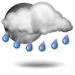 Partly cloudy with showers